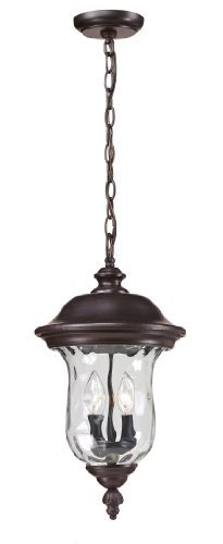 Z-Lite 533CHM-RBRZ Armstrong Outdoor Chain Light, Aluminum Frame, Bronze Finish and Clear Water Glass Shade of Glass Material