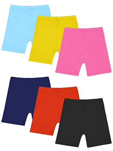 Resinta 6 Pack Black Dance Shorts Girls Bike Short Breathable and Safety 6 Color (Yellow, Orange, Navy, Black, Light Blue, Pink, 4T/5T) -