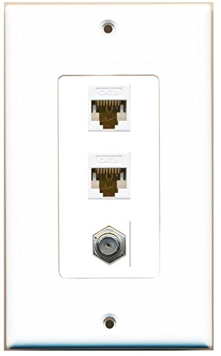 (RiteAV Decorative 1 Gang Wall Plate (White/White) 3 Port - 2 x Cat6, 1 x Coax)