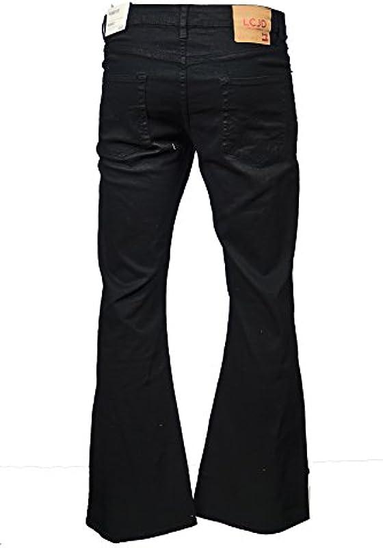 LCJ Denim LC16 męskie dżinsy z bijakiem, w stylu retro/indie/retro, dżinsy z lat 70-tych, wystawa, czarne: Odzież