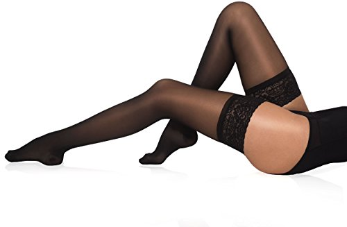 Healthweir Graduated Compression Thigh Highs 15-20 mmHg (EU 18-22 mmHg) Medical Support Stockings - Made in Italy - Sheer Hosiery for Everyday Use, Travel, Nursing & Maternity Hose (4, Black)
