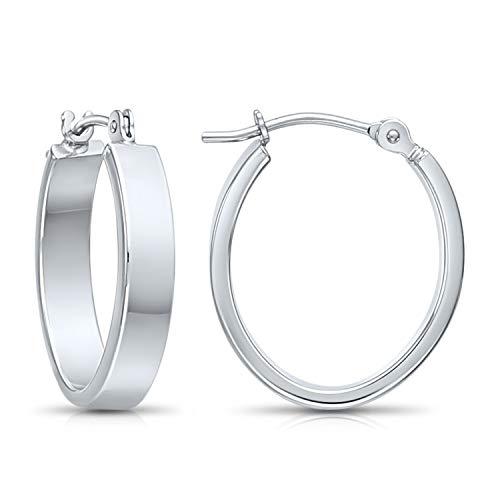 Flat Hoop Earrings (white-gold) ()