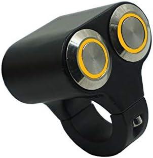 JPLJJ 22mm 25mm オートバイ スイッチ 危険 ブレーキ ヘッドライト フォグライト ON OFF コントロール ダブル スイッチ(黄色インジケーターライト付き) (色 : Self ON OFF(25mm))