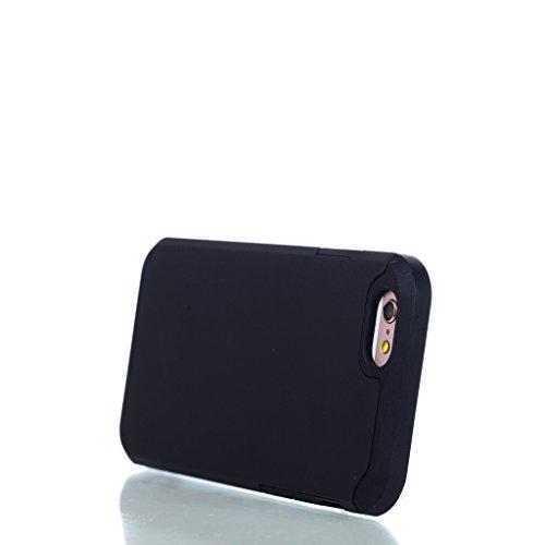 """Coque Cover iPhone 6 / 6S, IJIA Ultra-mince PC Dur et Les TPU Doux (2 en 1) Plastique Silicone Hard Bumper Case Cover Shell Coque Housse Etui pour Apple iPhone 6 / 6S 4.7"""" + 24K Or Autocollant (Noir)"""