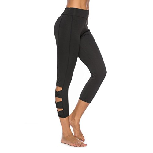 en's Strappy Side Yoga Capri Leggings High Waisted Cutout Crop Workout Active Tights (Black, M) ()