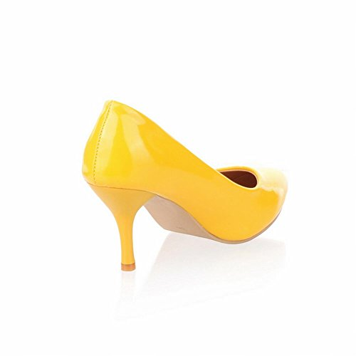 Latasa Femmes Charme Haute-stiletto Pointu-orteil Robe Chaussures Jaune