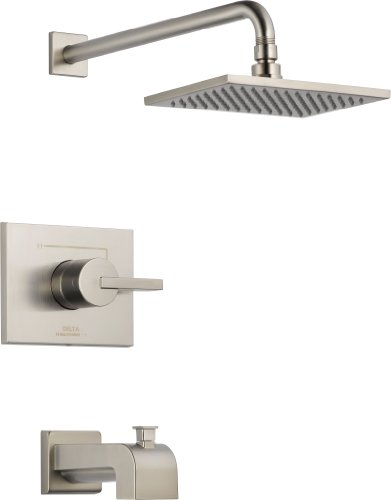 Delta Faucet Vero 14 Series Single-Function Tub and Shower Trim Kit with Single-Spray Touch-Clean Rain Shower Head, Stainless T14253-SS (Valve Not - Vero Tub Delta