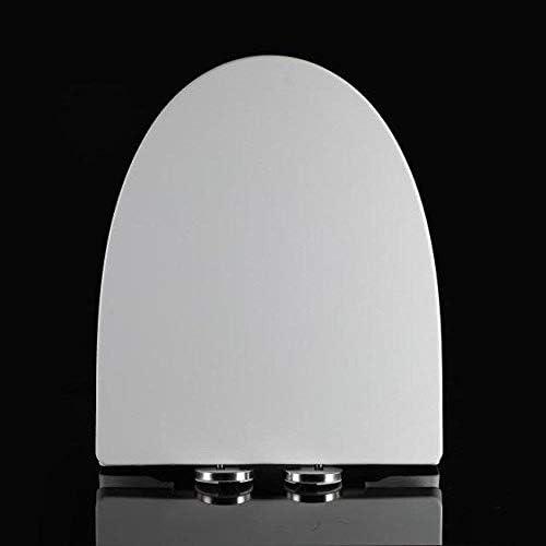 YSDHE スロー閉じるミュート厚み付け尿素 - ホルムアルデヒド樹脂のトイレシートカバー、ホワイト、44-48 * 38.5センチメートル付き便座V型トイレのふた (Color : White, Size : 44-48*38.5cm)