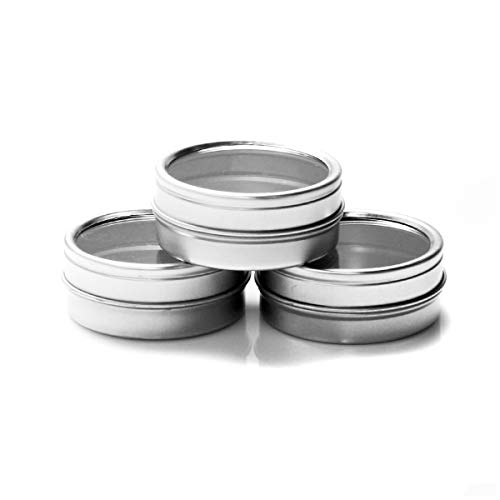 Mimi Pack 1 oz Shallow Window Round Silver Metal Tin Can Slip Lid Steel Containers For Spices, Candy Favors, Balms, Gels, Candles, Gifts, Storage -
