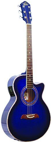 New Oscar Schmidt OG10CEFTBL Transparent Blue Acoustic