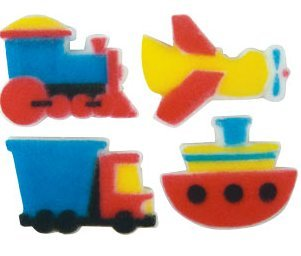 12pk Train Plane Truck Boat Ready To Use Edible Cake / Cupcake Sugar Decoration Toppers