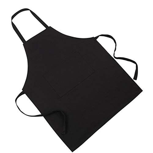 (Bib Apron - Unisex Black Apron Bulk with 1 Roomy Pockets Machine Washable for Kitchen Crafting BBQ Work Gloves (Color : Black, UnitCount : 2 Pack))