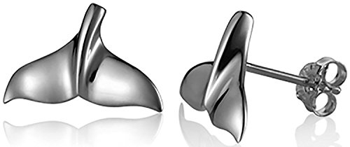 Hawaiian Whale Tail (Sterling Silver Whale Tail Stud Earrings)