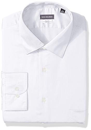 Van Heusen Men's Size Big Lux Sateen Stretch Solid Tall Fit, White, 17