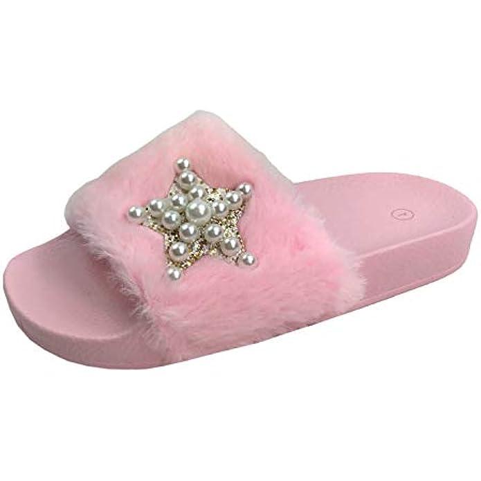 Girls Kids Slides Fur Fuzzy Slipper Flats