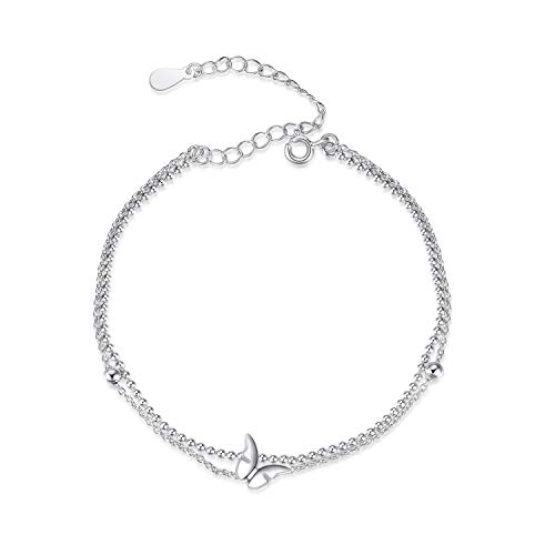 Butterfly Anklet Sterling Silver Butterfly Beads Layered Ankle Bracelets Adjustable Anklets for Women (Butterfly Double Layered -