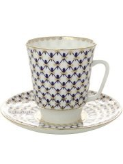 Lomonosov Russia Bone China Cup and Saucer May Cobalt Net 5.6 fl.oz/165 ml Cobalt Net Bone China