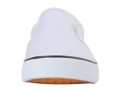Rainlin Mens Canvas Slip På Skor Mode Casual Komfort Sneakers Vita