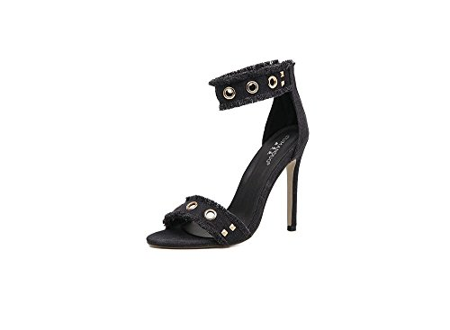 Women Heeled Sandals Ankle Strap High Heels Open Toe Bridal Party Shoes Black