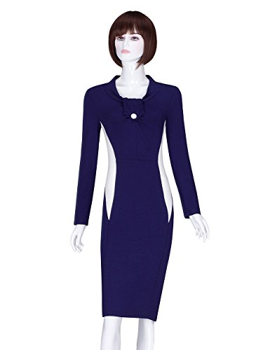 ADAMARIS Women's Fall Round Neck High Waist Slim Long Sleeve Pencil Dress