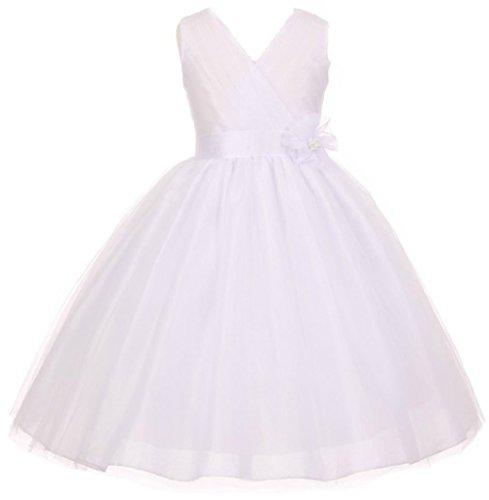 Silk Shantung Flower Girl Dresses - BNY Corner Flower Girl Dress V-Neck Silk Shantung Illusion Skirt For Big Girl White 12 MBK.347