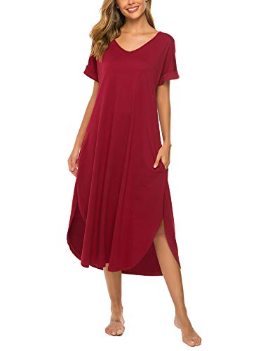 Bloggerlove Long Nightgown Womens Lounge Dresses with Pockets V Neck Nightshirt ()