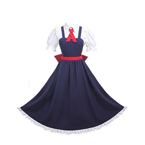 Women Japanese Lolita Maid Dress Halloween Cosplay Costume School Uniform (L) Blue -