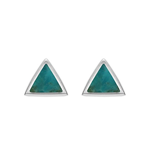 Sterling Silver Turquoise Inlay Ring (Boma Sterling Silver Turquoise Triangle Inlay Stud Earrings)