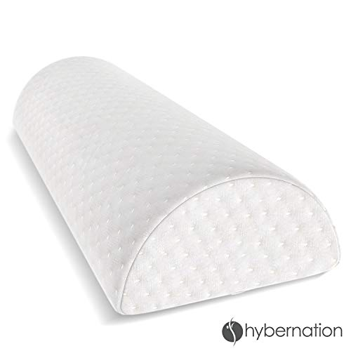 Hybernation 15 Inch Half Moon Semi Firm Bolster Pillow / Quality Orthopedic Support for Side or Back Sleeping/ Relieves Knee, Hip, Neck, Back and Sciatic Nerve Pain ()