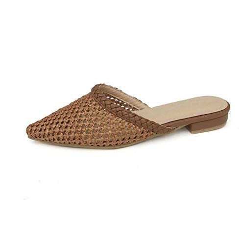 Mujer 39 Retro Zapatos A Hueco Zapatillas brown En Verano Mano Durable Antideslizante Sandalias Cabeza De Punta Bajo Cuero Respirable Hecho Tejeduría Tacón 5C0w1xq