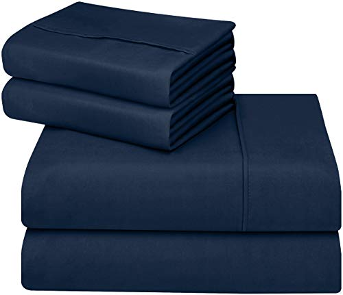Utopia Bedding fluffy applied Microfiber Wrinkle Fade and Stain reluctant 4-Piece King Bed bed-sheet Set - Navy