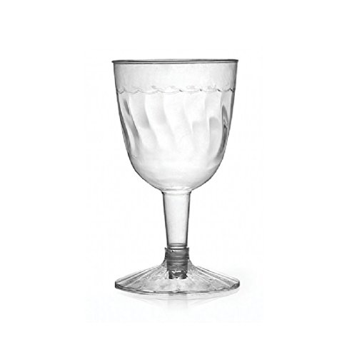 Fineline Settings 2206-CL, 5 Oz. 2-Piece Flairware Clear Plastic Wine Goblets, Red White Wine Disposable Catering Plastic Glasses (50)