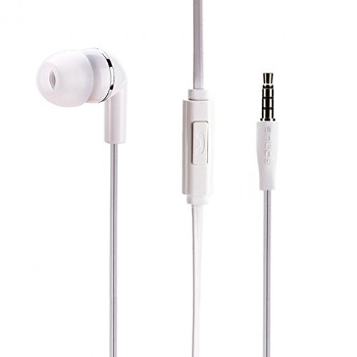 Premium Flat Wired Headset Mono Hands-Free Earphone w Mic Single Earbud Headphone in-Ear 3.5mm White for Samsung Galaxy J3, J5, J7, Note 3 4 5, Note8, S5, S6, S7, Edge Edge , S8, S8 , S9, S9