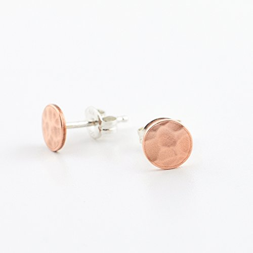 Hammered Copper Circle Stud Earrings - Copper Circle with Sterling Silver (Circle Silver Stud)