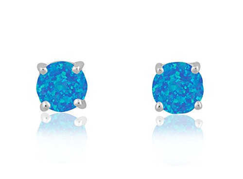 Sterling Silver/Rose/Gold Tone Created Blue, White & Pink Opal Round 6mm Stud Earrings