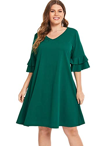 Flared Dress Sleeves Mini - Milumia Plus Size Women Casual V Neck Dress 3 4 Flared Sleeves Mini Dresses Party Homecoming Green 3XL