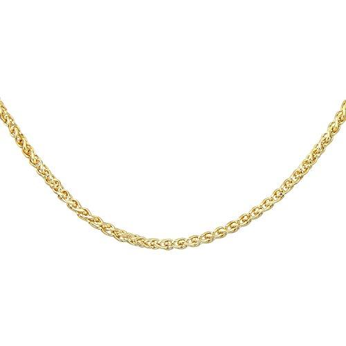Revoni Bague en or jaune 9carats-Chaîne Spiga fin collier de 45,7cm/46cm Longueur