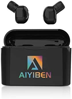 Bluetooth 5.0 Headset,AIYIBEN Dual Wireless Headphones Mini Stereo Earbuds Call and Listen to Music Built-in Noise Cancelling Mic and Charging Case for Smart Phones Black