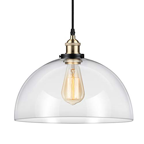 Ascher Industrial Edison Vintage Pendant Light, Clear Glass Shade 1-Light Ceiling Light Fixture, Antique Brass Brushed E26 Socket, 66.9'' Adjustable Cord, Diameter 11.02''(1 Light Bulb -
