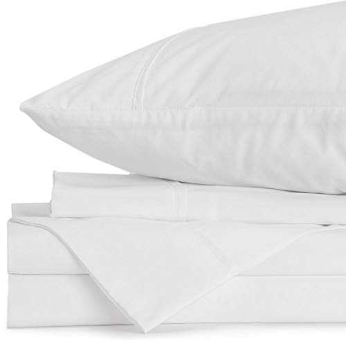 Jennifer Adams Home Lux Collection Sheet Set, 4-Piece Luxury Bed Sheets, Easy on Allergies and Wrinkle Resistant, Includes 1 Fitted Sheet, 1 Flat Sheet, and 2 Pillowcases (Queen, White)