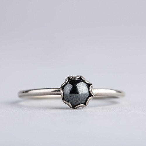 Size 6 Black Hematite Gemstone Ring in Sterling (Black Hematite Gem)