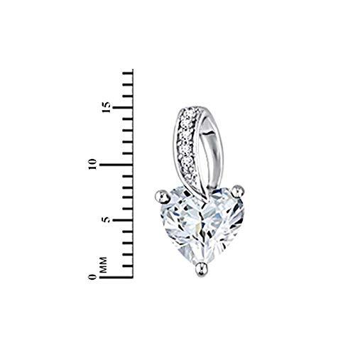 14k White Gold Over Simulated Diamond Solitaire Heart Stud Earrings for Women Girls valentine day Gift