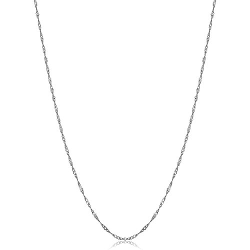 Singapore Chain Necklace (0.85mm, 20 inch) (Lightweight White Gold Necklace)