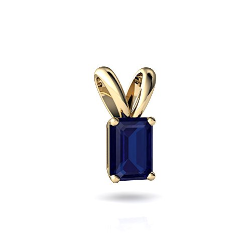 14kt Yellow Gold Lab Sapphire 7x5mm Emerald_Cut Solitaire Pendant