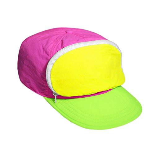 Tri Color Head - Cap-sac Fanny Pack hat for Your Head - 80s / 90s - Nylon Cap with Zipper Pocket and Adjustable Closure - Mens Hats/Womens Hats (Tri-Color)
