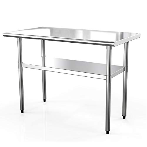 SUNCOO NSF Stainless Steel Table 48in.x24in. Commercial Prep Table Heavy Duty Garage Worktable Workbench Industrial Restaurant Food Preparation Work Table for Shop from SUNCOO