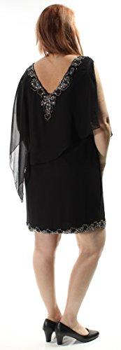 Jkara 229 $ Femmes Robe De Changement Sans Manches Col V Perlé Noir 1321 6 B + B
