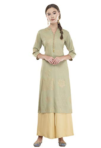 Lagi Women Designer Straight A-Line Kurta Kurtis top Tunic Dresses Polly Silk Rayon Cotton Kurtis Kurta (M, O.Green (MC09B))