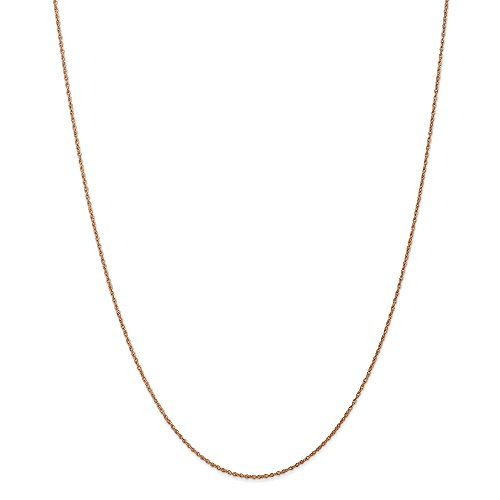 14k Rose Gold .8mm Light-Baby Rope Chain 18in Necklace by Diamond2Deal