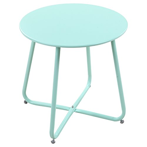 Grand patio Patio Bistro Table,Outdoor for Bistro Set Round Coffee Table with Flat Surface|Steel Frames(Macaron Blue)